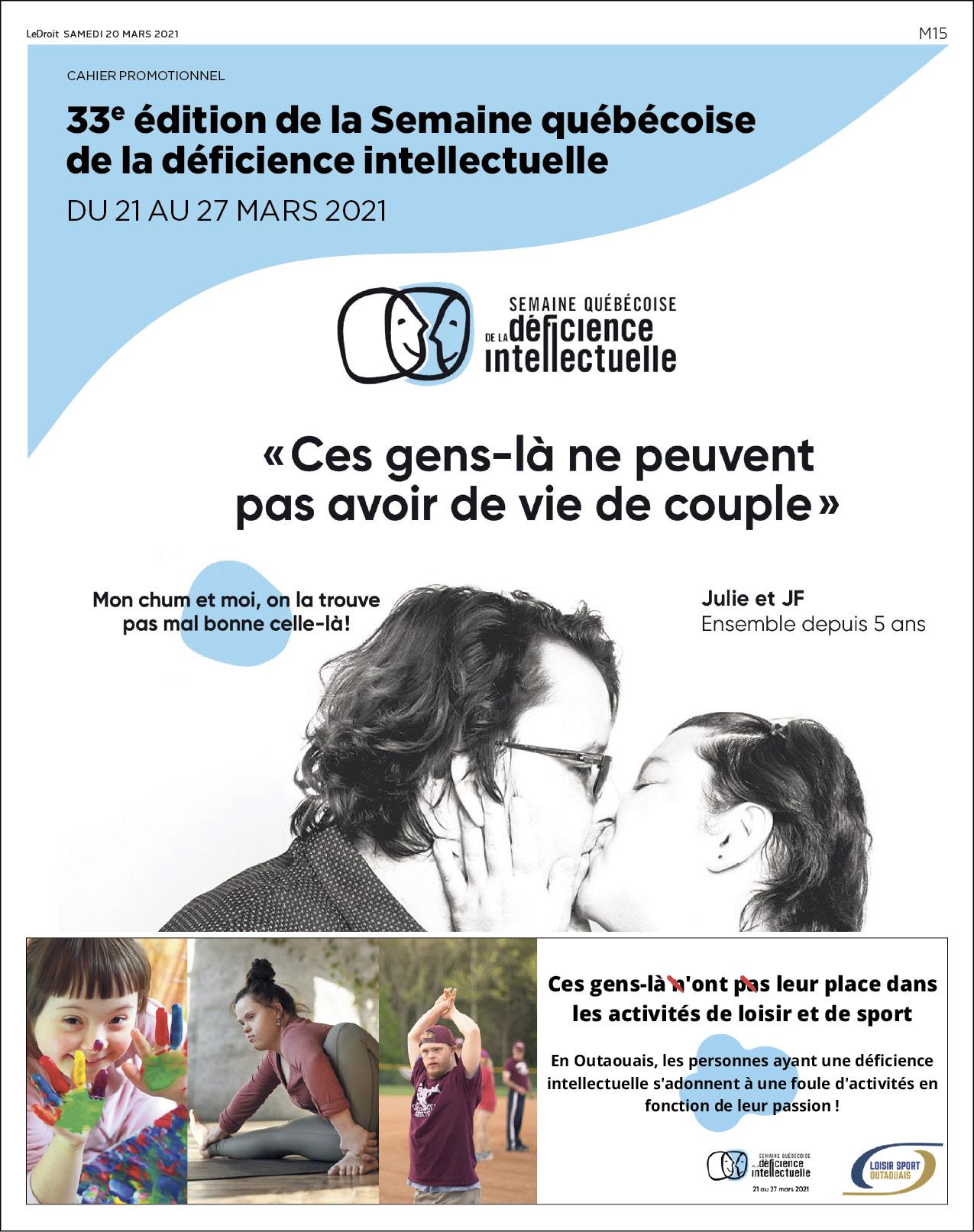 Cover Semaine québécoise de la déficience intellectuelle